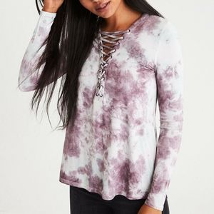 AE Purple Soft Sexy Long sleeve Laceup Shirt